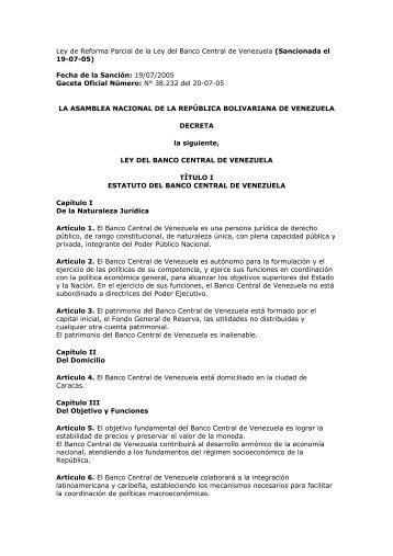 Ley de Reforma Parcial de la Ley del Banco Central ... - Corpoandes