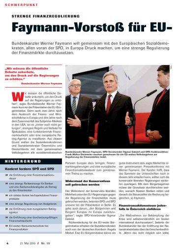 Faymann-Vorstoß für EU- - Das Rote Wien