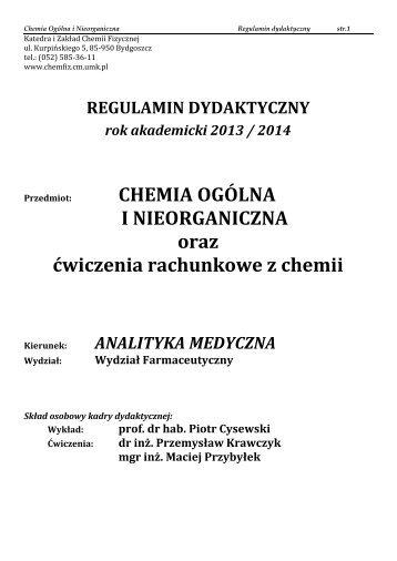Regulamin dydaktyczny - Katedra i Zakład Chemii Fizycznej