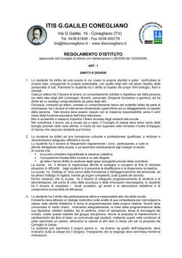 REGOLAMENTO D'ISTITUTO - ITIS G. Galilei