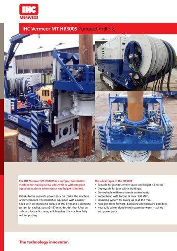 IHC Vermeer HB300S mini piling rig spec sheet - AGD Equipment