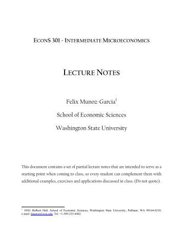 Intermediate microeconomics theory notes