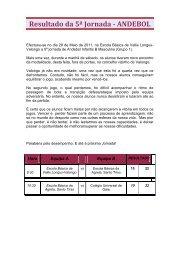 Resultado da 5ª Jornada - ANDEBOL - Agrupamento de Escolas da ...