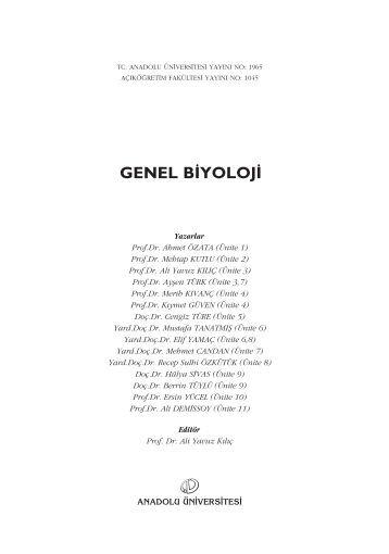 GENEL B‹YOLOJ‹ - Anadolu Üniversitesi