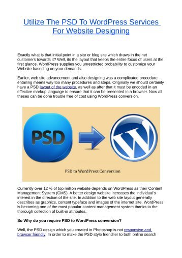 Utilize The PSD To WordPress Services For Website Designing