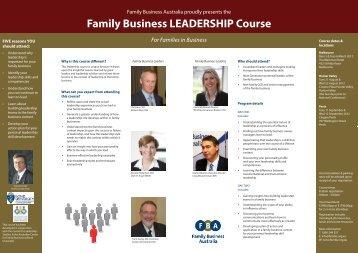 Family Business LEADERSHIP Course - Family Business Australia ...