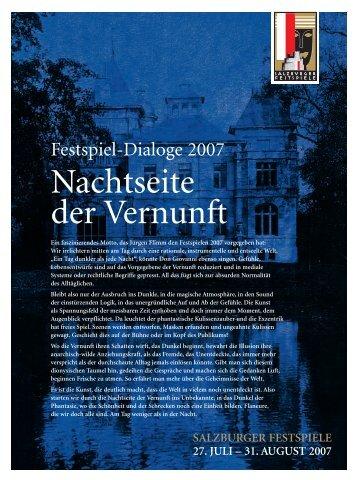 Festspiel-Dialoge 2007: Nachtseite der Vernunft