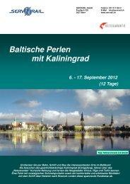 Baltische Perlen mit Kaliningrad 6. - 17. September 2012 - SERVRail