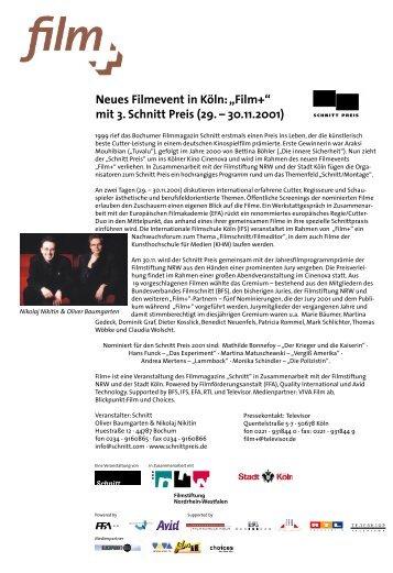 """Neues Filmevent in Köln: """"Film+"""" mit 3. Schnitt Preis (29. – 30.11.2001)"""