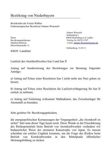 Bezirkstag von Niederbayern ... - Freie Wähler Landkreis Landshut