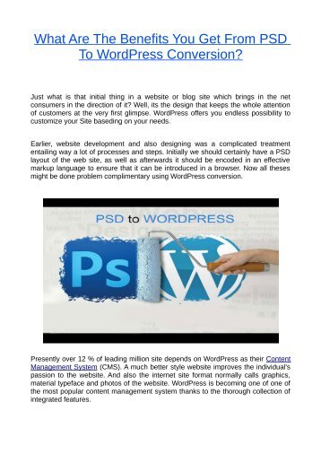 What Are The Benefits You Get From PSD To WordPress Conversion?