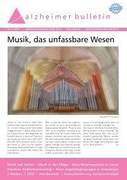 Musik, das unfassbare Wesen - Alzheimer-Bulletin 2/2014