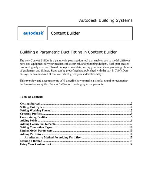 Autodesk Building Systems Building a Parametric Duct Fitting in