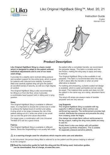 Original HighBack Sling Instruction Guide EN - Liko