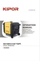 IG3000 Owner's Manual NTP Edit - Kipor Power Systems