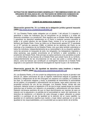 Extractos de observaciones generales y recomendaciones ... - Acnur