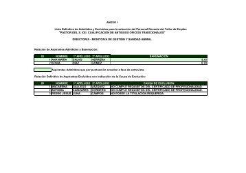 anexos. lista definitiva de admitidos y excluidos del personal ...
