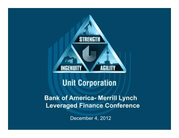 Bank of America- Merrill Lynch Leveraged ... - Unit Corporation