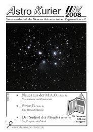 Neues aus der MAO - Moerser Astronomische Organisation eV