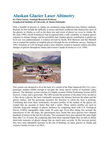 Alaskan Glacier Laser Altimetry - RIEGL Laser Measurement Systems