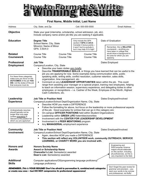 How To Format Write A Winning Resume Career Center
