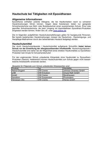 Hautschutz bei Tätigkeiten mit Epoxidharzen - GISBAU