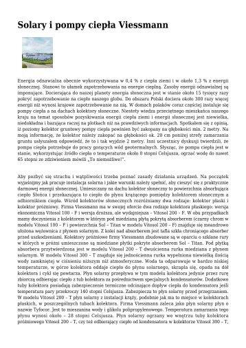 Solary i pompy ciepÃ…Â'a Viessmann - Ogrzewnictwo