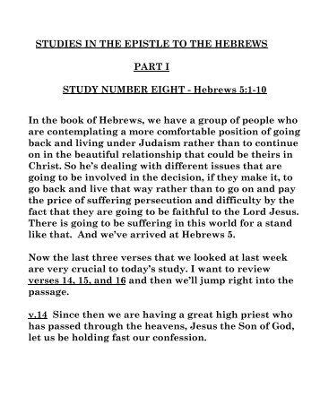 Hebrews #8 - Bible Teaching Resources