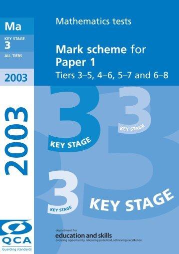 KS3 Mathematics tests Mark scheme for Paper 1 Tiers 3â ... - Emaths
