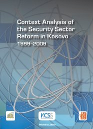 Context Analysis of the Security Sector Reform in Kosovo 1999 - QKSS