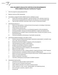 ICEA CHILDBIRTH EDUCATOR CERTIFICATION REQUIREMENTS ...