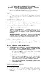 Politique de gestion contractuelle concernant les frais de