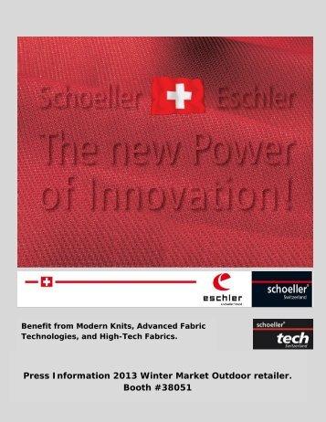 Schoeller Textiles and Technologies and Eschler Press Information