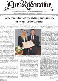 Förderpreis für westfälische Landeskunde  an Hans Ludwig Knau