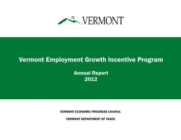 VEGI Annual Report - State of Vermont