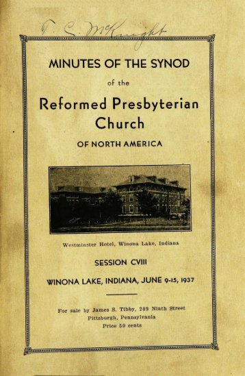 Reformed Presbyterian Minutes of Synod 1937 - Rparchives.org