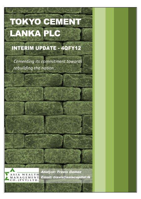 TOKYO CEMENT LANKA PLC - Asia Securities|Broker Firms