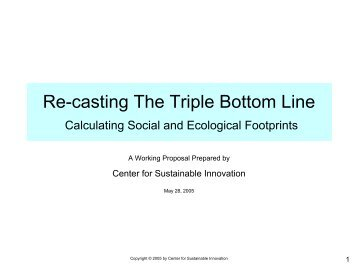 Re-casting The Triple Bottom Line - Center for Sustainable ...