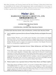 connected transactions and continuing connected transactions - Haier