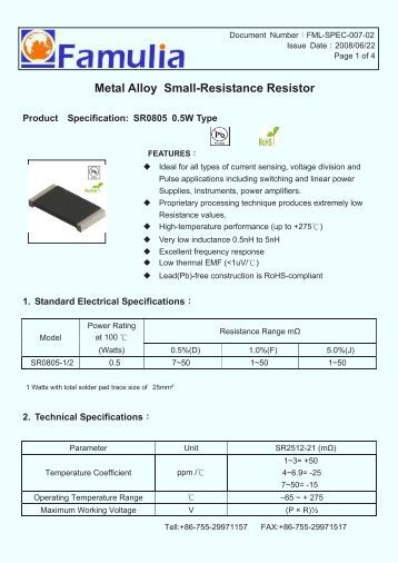 Power Metal Strip Resistors, Low Value, Surface Mount