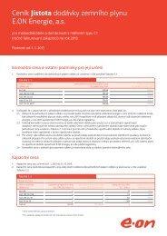 Ceník Jistota dodávky zemního plynu E.ON Energie, a.s.
