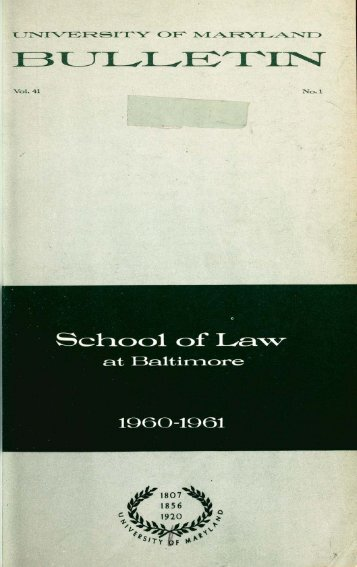 University of Maryland School of Law : Catalog, 1960-1961