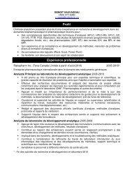 Profil Expérience professionnelle - Ordre des chimistes du Québec