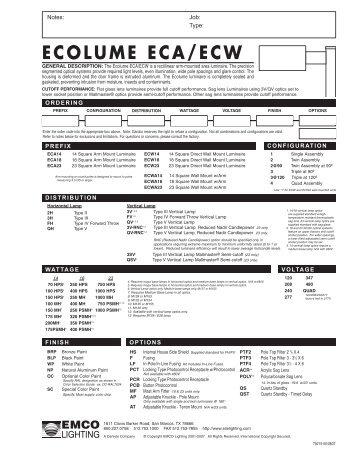 Great ECOLUME ECA/ECW   Architectural Lighting Associates (ALA, Inc.)