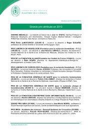 Lauréats 2013 des Grands prix de l'Académie des sciences ...