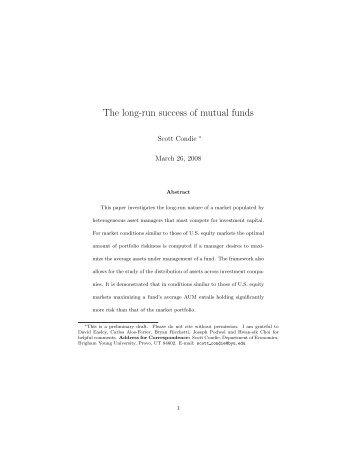 The long-run success of mutual funds - Marriott School