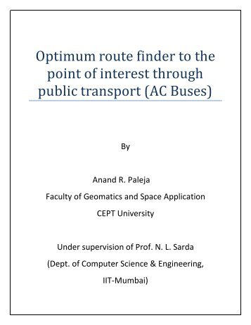 Optimum route finder to the point of interest through ... - GISE Lab