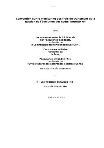 Convention sur le monitoring des frais de traitement et la gestion de ...