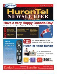 HuronTel Newsletter - July 2013
