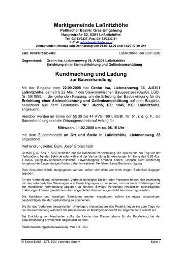 Marktgemeinde Laßnitzhöhe Kundmachung und Ladung